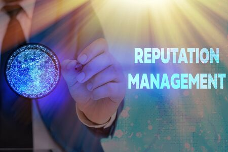 Writing note showing Reputation Management. Business concept for Influence and Control the Image Brand Restoration Stock Photo