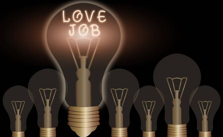 Conceptual hand writing showing Love Job. Concept meaning designed to help locate a fulfilling job that is right for us