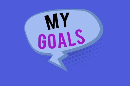 Handwriting text My Goals. Conceptual photo a future or desired result that a demonstrating commits to achieve Blank Oblong Halftone Speech Bubble Text Balloon with Zigzag Tail and Shade Stock Photo