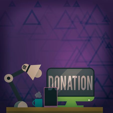 Writing note showing Donation. Business concept for something that is given to a charity, especially a sum of money Arrangement for Nightshift Worker Computer, Tablet and Lamp
