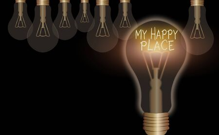 Conceptual hand writing showing My Happy Place. Concept meaning something nice has happened or they feel satisfied with life
