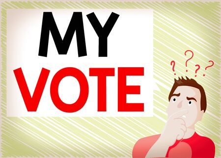 Word writing text My Vote. Business photo showcasing the act of showing your choice or opinion in an election or meeting Man Expressing Confused Hand on Mouth Question Mark icon Blank Text Bubble Banque d'images