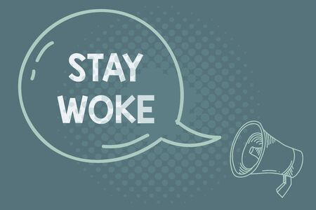Text sign showing Stay Woke. Business photo showcasing being aware of your surroundings and things going on Keep informed Blank Transparent Speech Bubble with Shining icon and Outline Megaphone
