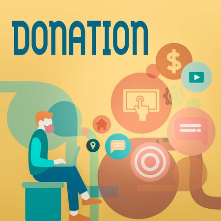 Word writing text Donation. Business photo showcasing something that is given to a charity, especially a sum of money Man Sitting Down with Laptop on his Lap and SEO Driver Icons on Blank Space