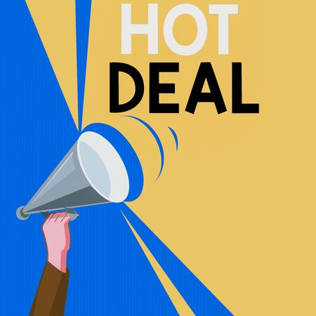 Word writing text Hot Deal. Business photo showcasing An agreement through which one of the paties is offered and accept Hu analysis Hand Holding Upward Megaphone with Volume Sound Range Pitch Power