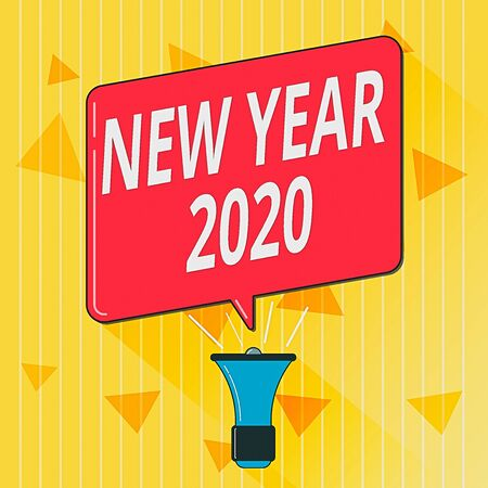 Handwriting text New Year 2020. Conceptual photo Greeting Celebrating Holiday Fresh Start Best wishes Megaphone Make Voice Louder Handheld Amplifier and Blank Speech Bubble