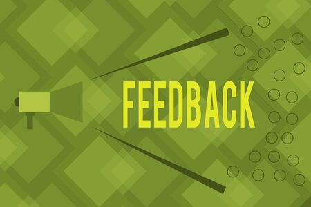 Writing note showing Feedback. Business concept for information about reactions to product demonstratings performance of task Megaphone Extending Loudness and Volume Range for Public Announcement Stock Photo