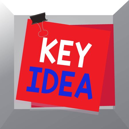 Conceptual hand writing showing Key Idea. Concept meaning Exceptional or vital thought or suggestion Without comparison Paper stuck binder clip colorful background reminder memo