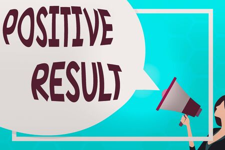 Text sign showing Positive Result. Business photo text shows that someone has the disease, condition, or biomarker Huge Blank Speech Bubble Round Shape. Slim Woman Holding Colorful Megaphone