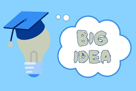 Word writing text Big Idea. Business photo showcasing Having great creative innovation solution or way of thinking 3D Graduation Cap Thinking Resting on Bulb with Blank Cloud Thought Bubble