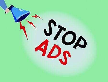 Conceptual hand writing showing Stop Ads. Concept meaning program that will remove different kinds of advertising from Web Hu analysis Holding Megaphone with Lightning Sound Effect Stockfoto