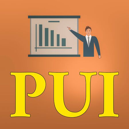 Writing note showing Pui. Business concept for An individual that has acute respiratory distress syndrome based on evidence Man in Business Suit Pointing a Board Bar Chart Copy Space Standard-Bild