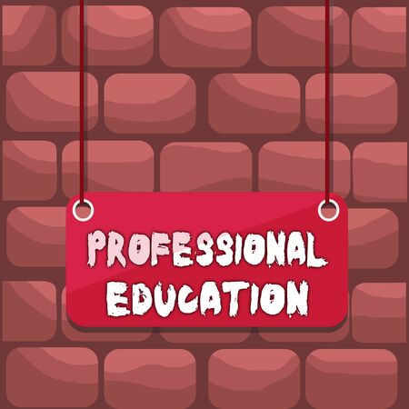 Handwriting text writing Professional Education. Conceptual photo Continuing Education Units Specialized Training Board color background plank attached string panel rectangle empty surface