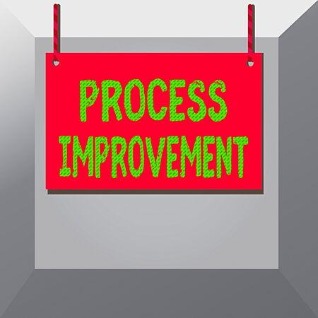 Conceptual hand writing showing Process Improvement. Concept meaning Optimization Meet New Quotas Standard of Quality Wooden board wood empty frame fixed colorful striped string