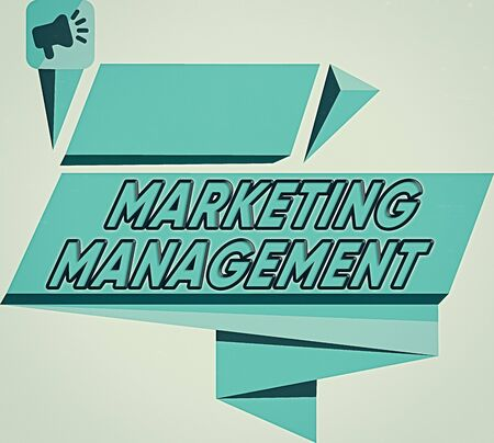 Word writing text Marketing Management. Business photo showcasing Develop Advertise Promote a new Product or Service Quadrangular Abstract Shape Formation Horizontal Graphic Outline Megaphone