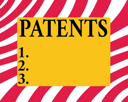 Conceptual hand writing showing Patents. Concept meaning government authority or licence conferring a right or title Horizontal Rectangular Shape with Bended Corner Figure