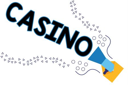 Word writing text Casino. Business photo showcasing a building where games especially roulette and card games are played Megaphone coming out of an open envelope announcing speaking and talking Foto de archivo