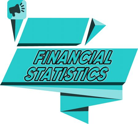 Word writing text Financial Statistics. Business photo showcasing Comprehensive Set of Stock and Flow Data of a company Quadrangular Abstract Shape Formation Horizontal Graphic Outline Megaphone Foto de archivo