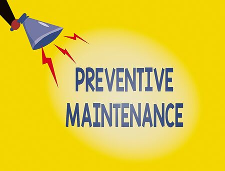 Writing note showing Preventive Maintenance. Business concept for Avoid Breakdown done while machine still working Hu analysis Holding Megaphone with Lightning Sound Effect