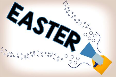 Word writing text Easter. Business photo showcasing the most important and oldest festival of the Christian Church Megaphone coming out of an open envelope announcing speaking and talking