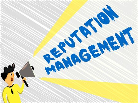 Word writing text Reputation Management. Business photo showcasing Influence and Control the Image Brand Restoration Man Standing Talking Holding Megaphone with Extended Volume Pitch Power