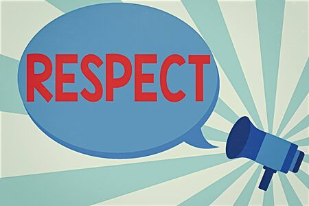 Word writing text Respect. Business photo showcasing Feeling of deep admiration for someone or something Appreciation Megaphone make an Announcement Relay message Empty Blank Speech Balloon Stock Photo