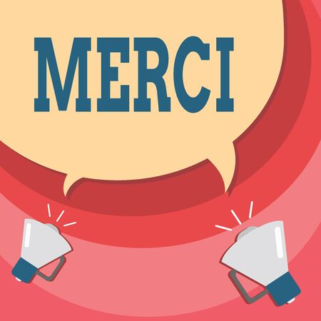 Handwriting text writing Merci. Conceptual photo what is said or response when someone helps you in France Thank you Halftone Blank Speech Bubble Two Tails pointing to Different Megaphone