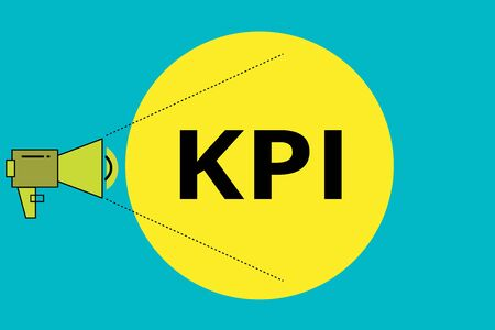 Word writing text Kpi. Business photo showcasing Evaluate the success of an organization in a particular activity Megaphone with Pitch Power Level Volume Sound Icon and Blank Circle Foto de archivo