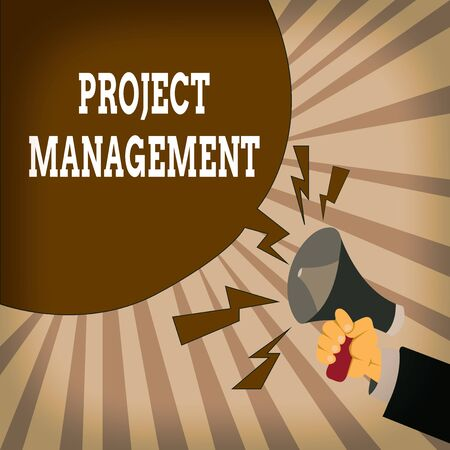 Handwriting text Project Management. Conceptual photo Application Process Skills to Achieve Objectives and Goal Male Hu analysis Hand Holding Megaphone Shouting Yelling and Blank Speech Bubble
