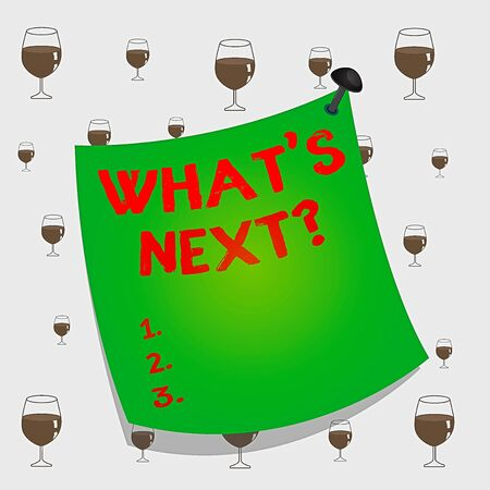 Text sign showing What S Next Question. Business photo text Get information Ask Query Investigate Probes Explore Curved reminder paper memo nailed colorful surface stuck blank pin frame