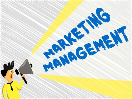 Word writing text Marketing Management. Business photo showcasing Develop Advertise Promote a new Product or Service Man Standing Talking Holding Megaphone with Extended Volume Pitch Power Stok Fotoğraf