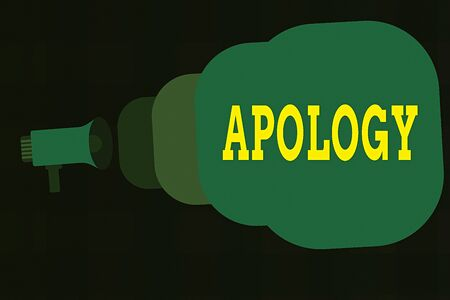 Text sign showing Apology. Business photo showcasing a written or spoken expression of one s is regret remorse or sorrow Megaphone making public announcement Speech Bubble gets bigger and nearer Stock Photo