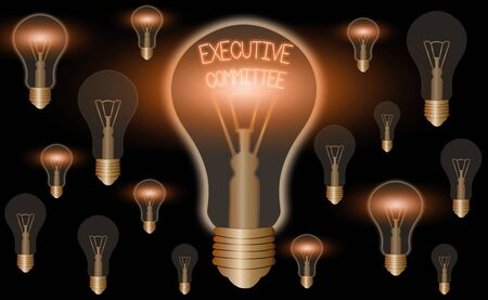 Handwriting text writing Executive Committee. Conceptual photo Group of Directors appointed Has Authority in Decisions