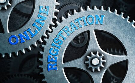 Conceptual hand writing showing Online Registration. Concept meaning Process to Subscribe to Join an event club via Internet Foto de archivo