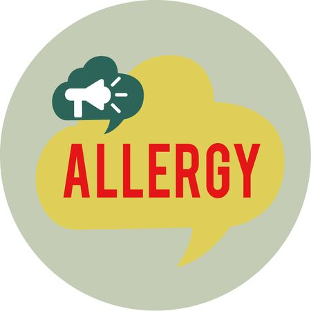 Word writing text Allergy. Business photo showcasing Hypersensitive of the immune system towards particular substance Megaphone in Speech Bubble Announcing Text Balloon Overlay Inside Circle