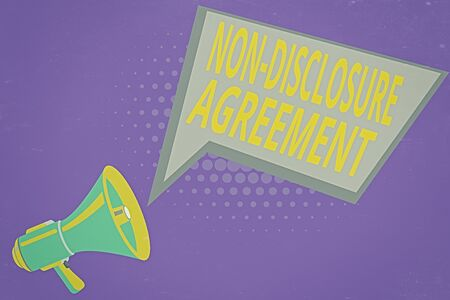 Text sign showing Non Disclosure Agreement. Business photo showcasing Legal Contract Confidential Material or Information Megaphone Loudspeaker and Blank Geometric shape Halftone Speech Bubble