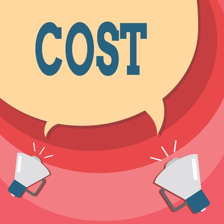 Handwriting text writing Cost. Conceptual photo The amount that usualy paid for a item you buy or hiring a demonstrating Halftone Blank Speech Bubble Two Tails pointing to Different Megaphone