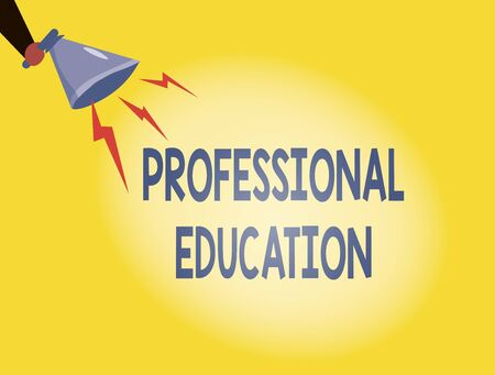 Writing note showing Professional Education. Business concept for Continuing Education Units Specialized Training Hu analysis Holding Megaphone with Lightning Sound Effect