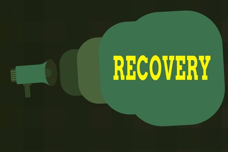 Text sign showing Recovery. Business photo showcasing the return to normal state of health mind or strength soon Megaphone making public announcement Speech Bubble gets bigger and nearer Stok Fotoğraf