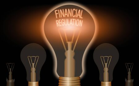 Writing note showing Financial Regulation. Business concept for aim to Maintain the integrity of Finance System