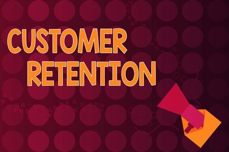 Word writing text Customer Retention. Business photo showcasing Keeping loyal customers Retain many as possible Megaphone coming out of an open envelope announcing speaking and talking