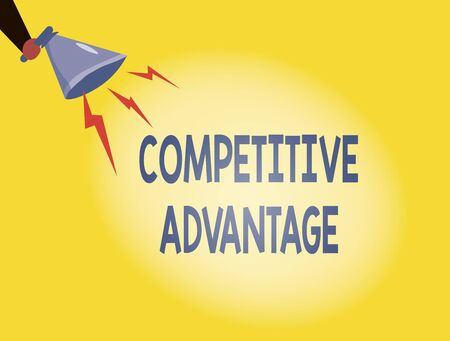 Writing note showing Competitive Advantage. Business concept for Company Edge over another Favorable Business Position Hu analysis Holding Megaphone with Lightning Sound Effect