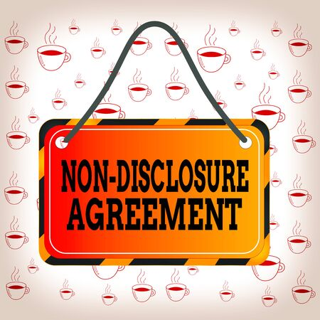 Writing note showing Non Disclosure Agreement. Business concept for Legal Contract Confidential Material or Information Board attach string color black yellow frame rectangle shape