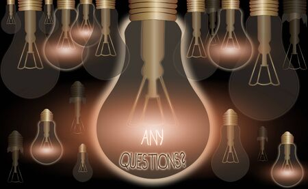 Writing note showing Any Questions Question. Business concept for Asking for inquiry Interrogation Clarification