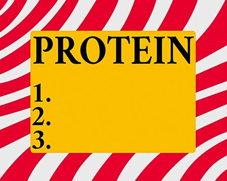 Conceptual hand writing showing Protein. Concept meaning the low in fat or carbohydrate consumption weight loss plan Horizontal Rectangular Shape with Bended Corner Figure