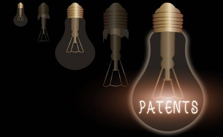 Text sign showing Patents. Business photo text government authority or licence conferring a right or title