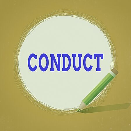 Conceptual hand writing showing Conduct. Concept meaning manner in which an organization or activity is managed or directed Scribbling of circular lines Using Pencil White Solid Circle