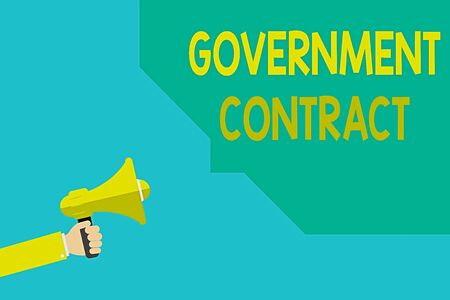 Writing note showing Government Contract. Business concept for Agreement Process to sell Services to the Administration Hu analysis Hand Hold Megaphone with Sound icon and Bubble