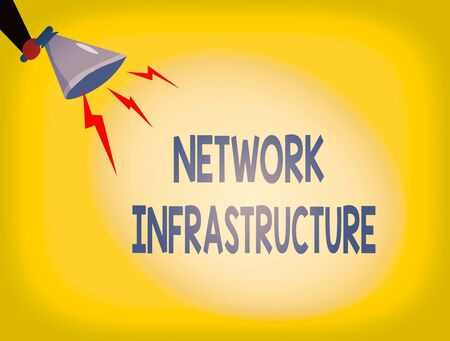 Writing note showing Network Infrastructure. Business concept for Hardware and Software resources In and Out Connection Hu analysis Holding Megaphone with Lightning Sound Effect
