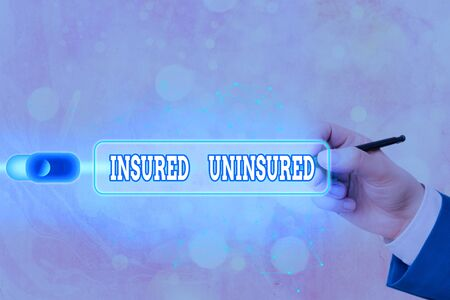 Text sign showing Insured Uninsured. Business photo text Company selling insurance Checklist to choose from